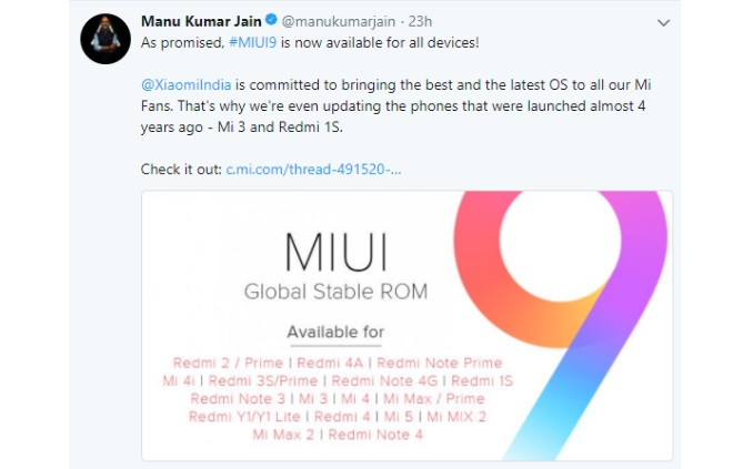 Manu kumar Jain announces MIUI 9 for Xiaomi devices