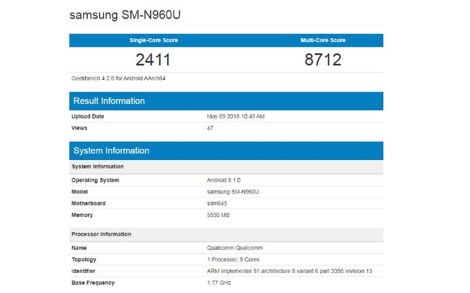Galaxy Note 9 leaked on Geekbench