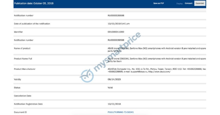 Asus ZenFone Max M2 Pro Certification
