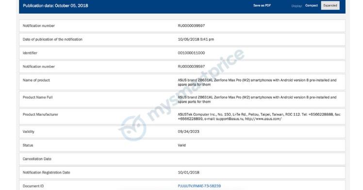Asus ZenFone Max M2 Certification