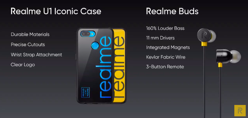 Realme U1 केस और बड्स