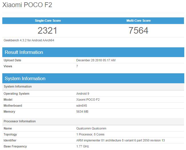 POCO F2 - Geekbench