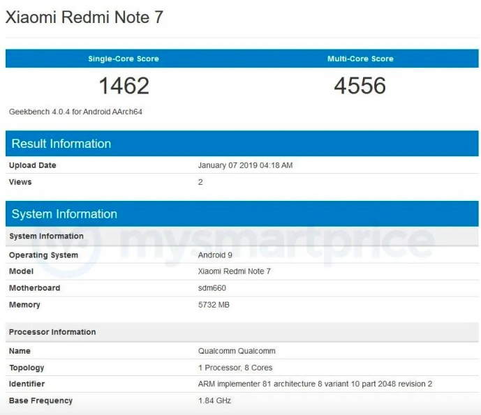 Redmi Note 7 - Geekbench