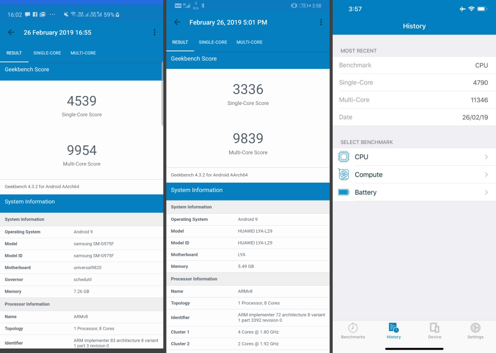 Samsung Galaxy S10 Plus vs Huawei Mate 20 Pro vs iPhone XS Max GeekBench Scores