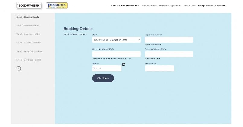 HSRP Booking Details