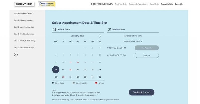 HSRP Appointment Details